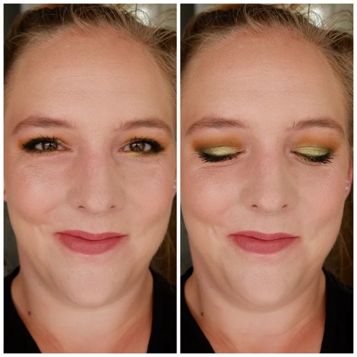 kaleidos makeup futurism I II III IV V sci-fi green cyber bronze astro pink vr neon electro turqoise eyeshadow palette review swatch makeup look application fair skin