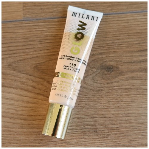 Milani Glow Hydrating Skin Tint review swatch foundation makeup look application 110 fair to light fair skin dry skin