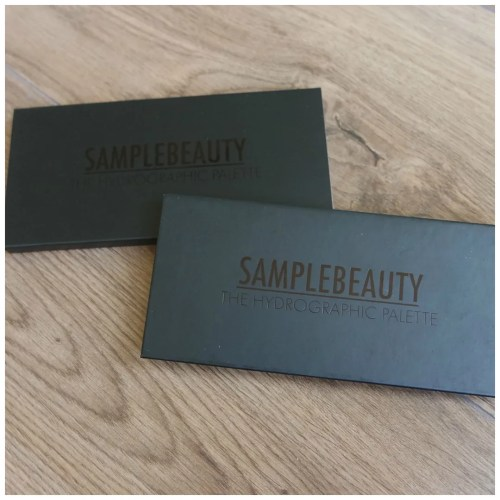 sample beauty hydrographic eyeshadow palette review swatch makeup look 2 looks 1 palette fair skin