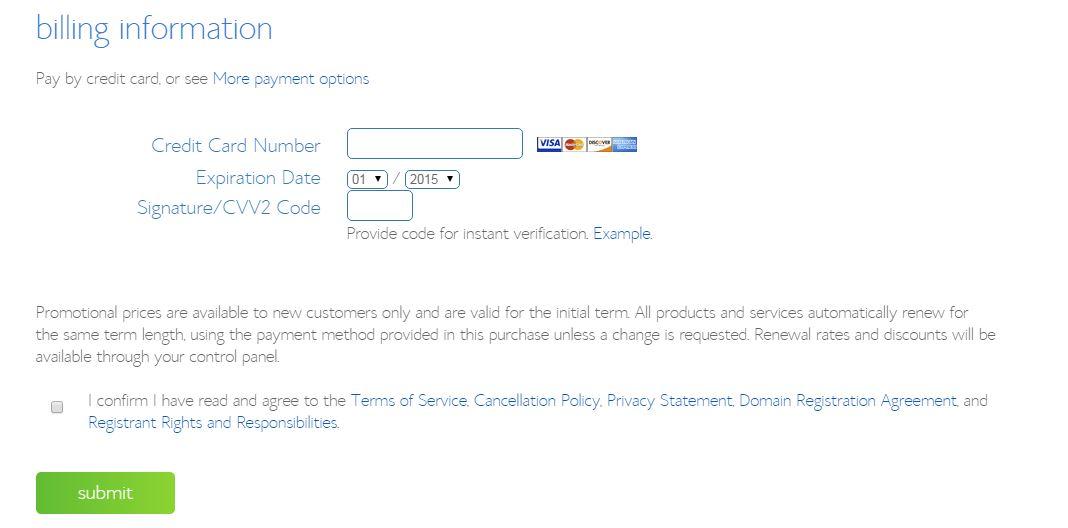 Enter Your Bluehost Web Hosting Billing Information