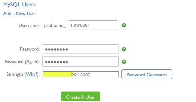 how to create a database user in bluehost