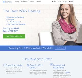 Página de inicio de Bluehost