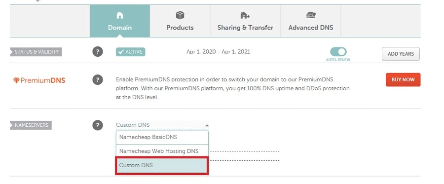 Selecting custom DNS in domain management section in Namecheap