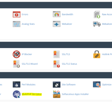 multiphp ini editor cpanel