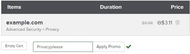 اخفاء معلومات النطاق مع كوبون على Name.com