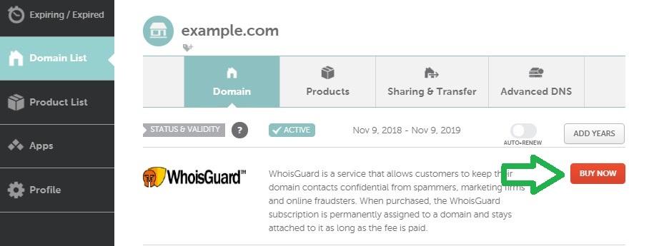 اخفاء معلومات النطاق NameCheap