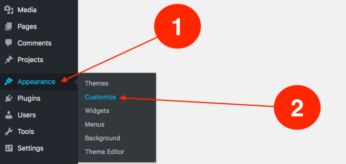 how to access the WordPress customizer