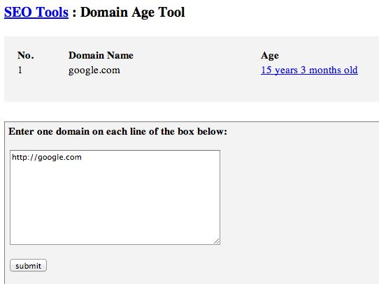 Google Domain Name Age