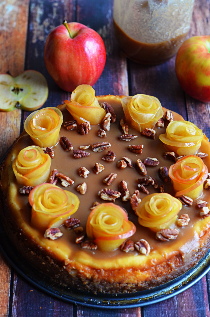 Salted Caramel Apple Cheesecake with Apple Roses.  One of the prettiest, tastiest desserts I've ever eaten.  Don't be intimidated-- it's easier to make than it looks!   hostthetoast.com