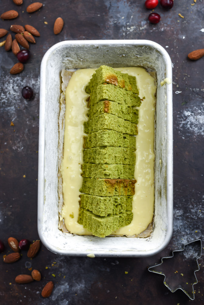 Amaretto-Matcha Christmas Surprise Cake. Cut into this sweet pound cake and reveal a Christmas tree surprise! | hostthetoast.com