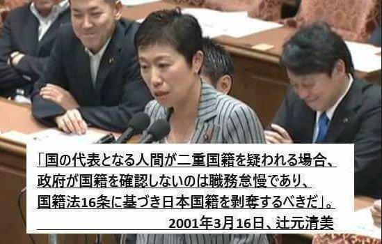 辻元清美「政府は日本国籍と外国籍を併せ持つ、二重国籍者についてどのように把握されているのか、国籍法16条に基づき国籍喪失の宣言を行ったのか」
