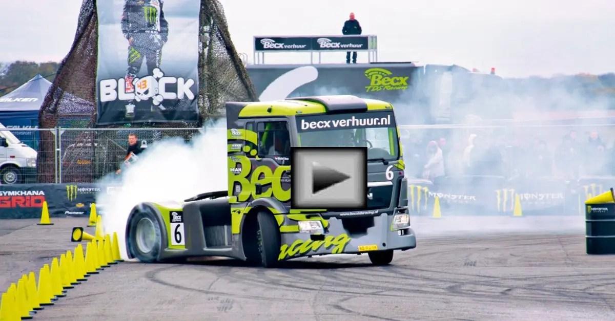 semi truck drifting