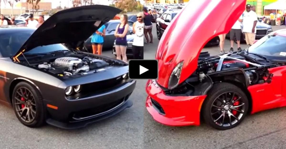 dodge challenger hellcat vs viper srt rev stand off hot cars. Black Bedroom Furniture Sets. Home Design Ideas
