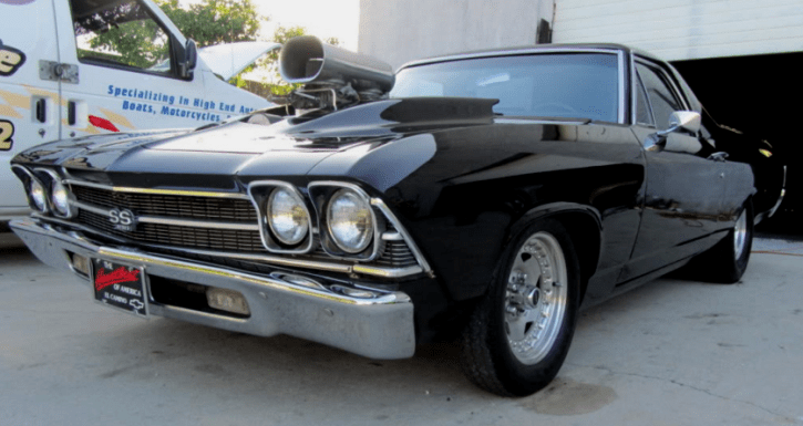 mean black blown 69 chevy el camino custom video hot cars