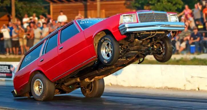 red chevy wheelie wagon drag racing