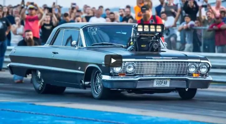 blown 1963 chevy impala ss drag racing