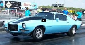 blue goose chevy camaro drag racing