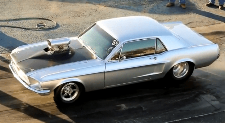blown 1968 mustang coupe drag racing