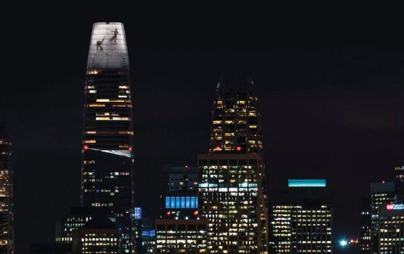 Jim Campbell, The Future Dancers of the San Francisco Skyline. Via Curbed