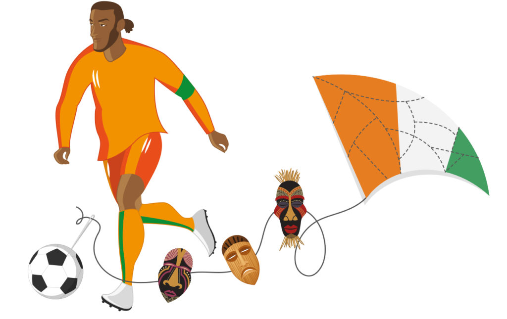 Didier Dogba, elefante de paz - futbol dibujo deporte