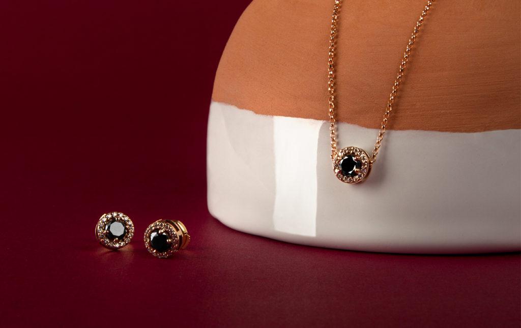 Georgina Rojo: joyería inspirada en la naturaleza - diamante negro aretes collar joyería fina
