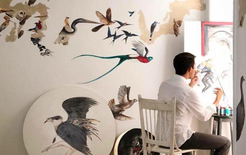 Esteban Fuentes de María, pintor por naturaleza - arte-artista-pajaros-mural