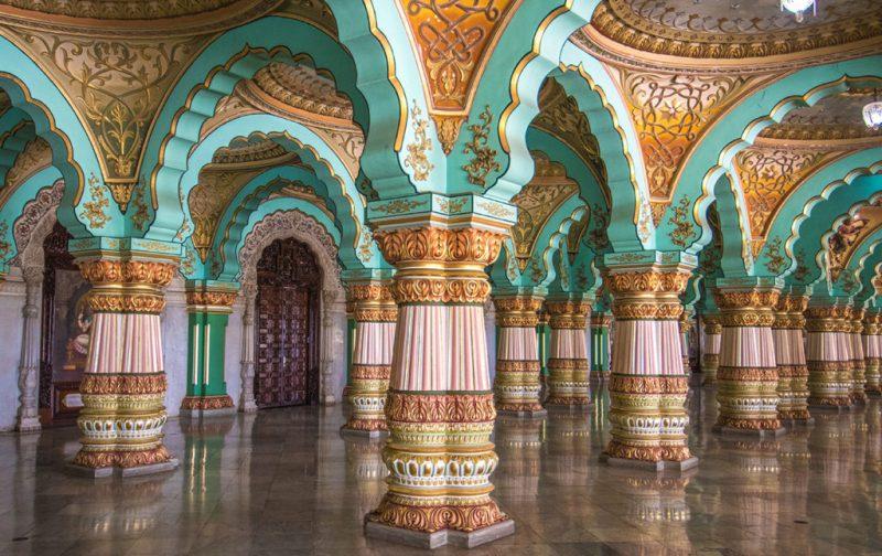 Karnataka: santuarios naturales, delirios de grandeza y contrastes urbanos - karnataka-palacio-interiores-arquitectura
