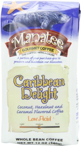 Manatee Caribbean Delight Whole Bean, 12-Ounce (Pack of 3)