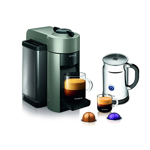 Nespresso A+GCC1-US-GR-NE VertuoLine Evoluo Coffee & Espresso Maker with Aeroccino Plus Milk Frother, Grey