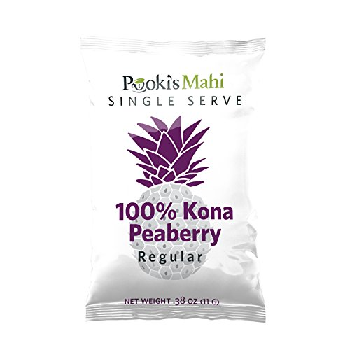 Pooki's Mahi Kona Coffee for K-Cup Brewers, Peaberry, Medium Roast, 24 Count