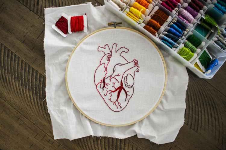heart design of handmade embroidery