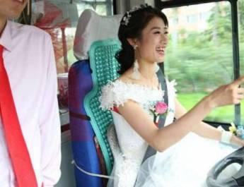 Keunikan Mempelai Wanita, Nyetir Bus ke Lokasi Pernikahan