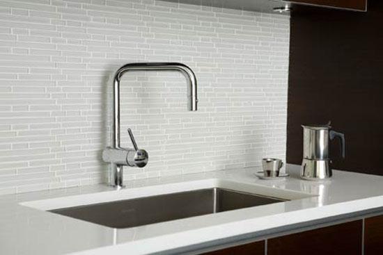 White Glass Tiles Backsplash Contrast Dark Cabinetry