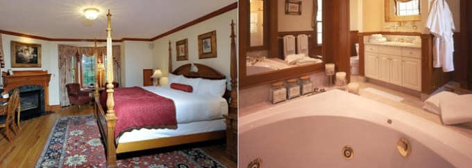 Room with hot tub in The Wentworth, Jackson, NH