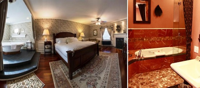Suite with a hot tub and a fireplace in Inn on Broadway, Rochester, NY