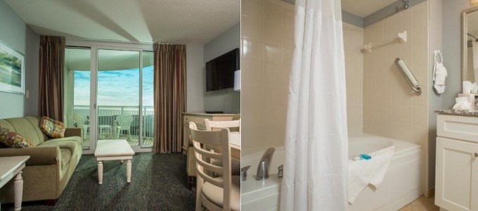 Oceanfront suite with a whirlpool tub in Avista Resort, Myrtle Beach, SC