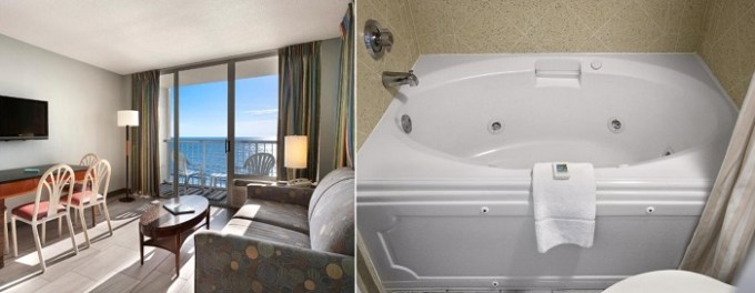 Oceanfront suite with a whirlpool tub in Crown Reef Beach Resort and Waterpark, Myrtle Beach, SC