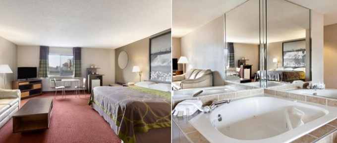 Suite with a hot tub in the room in Super 8 by Wyndham Niagara Falls - Buffalo Area Hotel, NY
