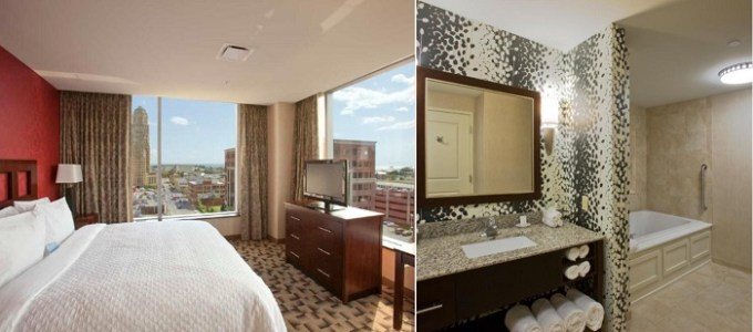 Suite with a whirlpool tub in Embassy Suites by Hilton Buffalo Hotel, NY