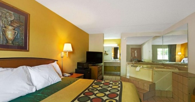 Room with a whirlpool tub in Super 8 by Wyndham Charlotte Downtown Area hotel, NC