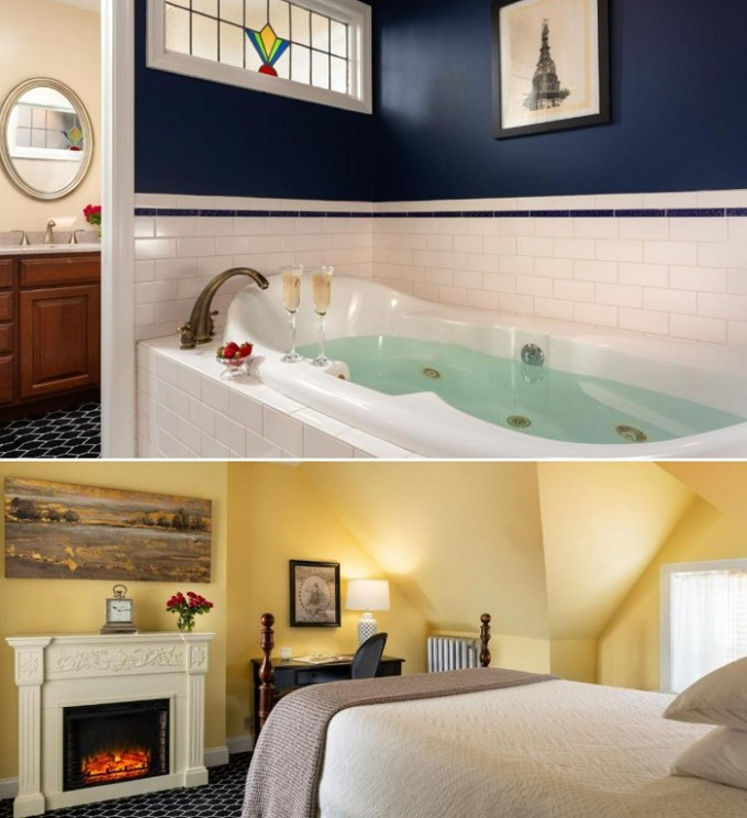 Hot tub suite with a fireplace in Cornerstone Bed & Breakfast, Philadelphia, PA