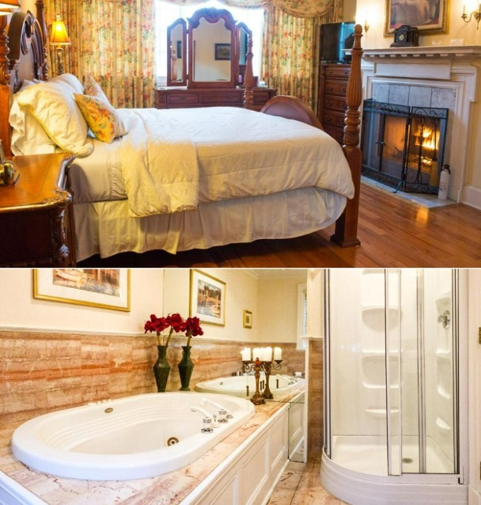 Romantic suite with a hot tub in the room in Chiltern Inn, Bar Harbor, Maine