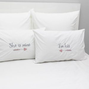200TC Embroidered Pillowcase Set - She is Mine