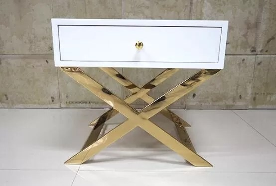White Painted Gold Hotel Bedside Tables With Polished
