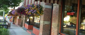 flower baskets and hotel front