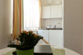 Tisch mit einem Blumentopf und kleiner weißer Küche im Hintergrund