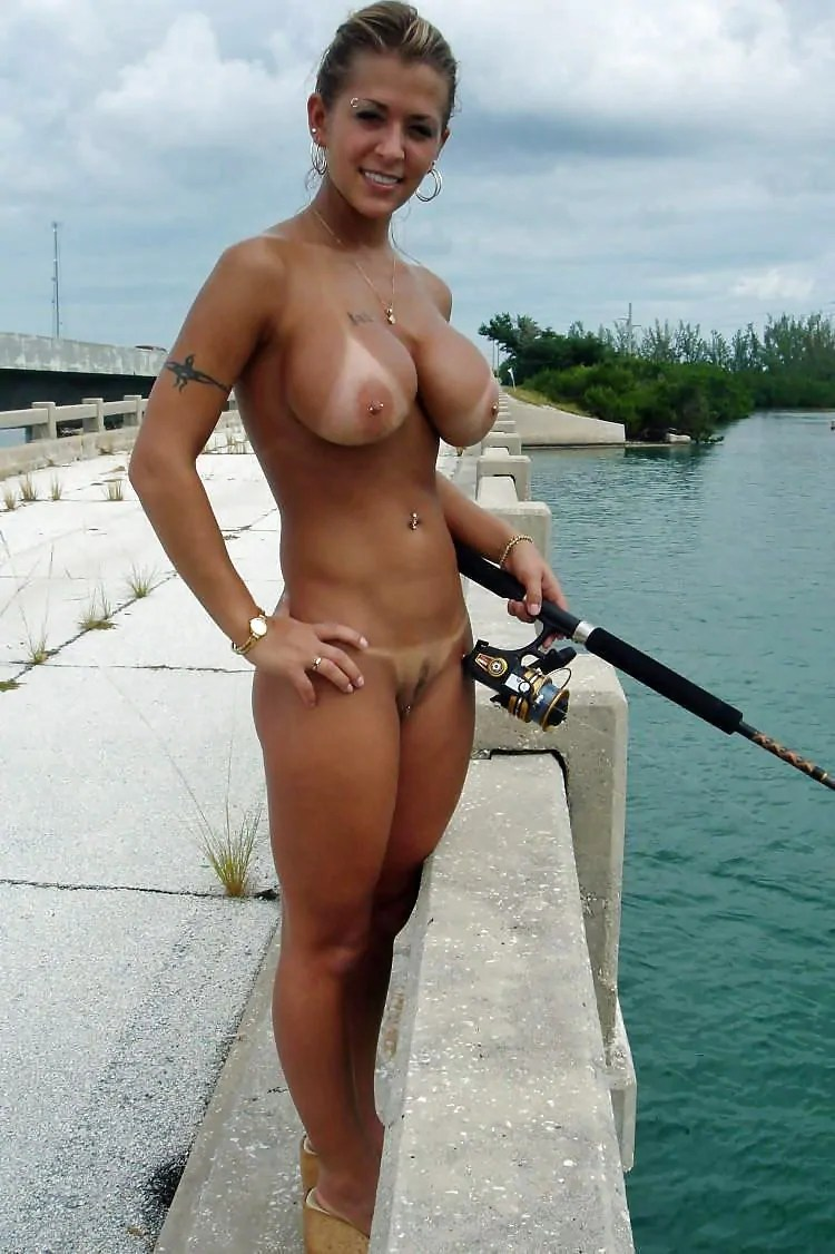 Naked girl fishing