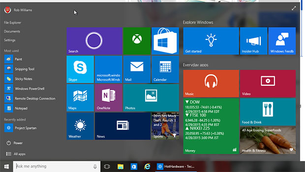 Windows 10 Build 10074 start menu
