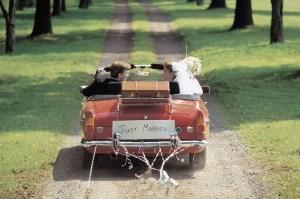 Just Married bride & groom in car