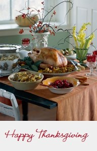 """Happy Thanksgiving"" & dinner picture"
